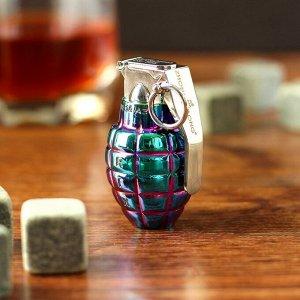 """Зажигалка электронная """"Граната"""", USB, спираль, градиент, синяя, 3х4х6 см"""