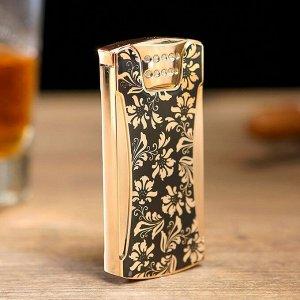 """Зажигалка электронная """"Лайтер"""", USB, спираль, чёрно-золотая, 7х3.5х1 см"""