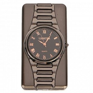 """Зажигалка электронная """"Наручные часы"""" в подарочной коробке, USB, спираль, 4х6 см"""