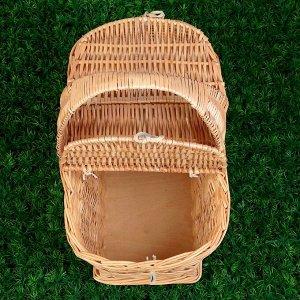 Корзина «Пикник», с крышкой, №1, дно фанера:17х32 см, верх:39х27 см, H=25/43 см, ива