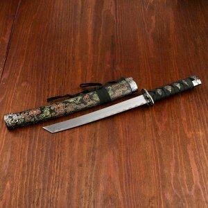 Сувенирное оружие «Катана», с подставкой, чёрные ножны с узорами в виде дракона, 47 см