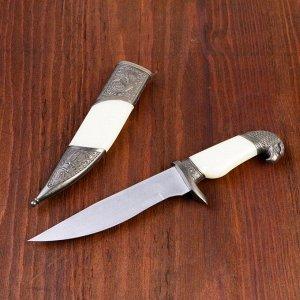 Сувенирный нож, рукоять белая с головой орла, 28см