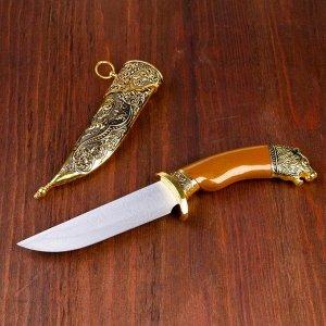 Сувенирный нож, 31 см рукоять под дерево с головой медведя, ножны расписные