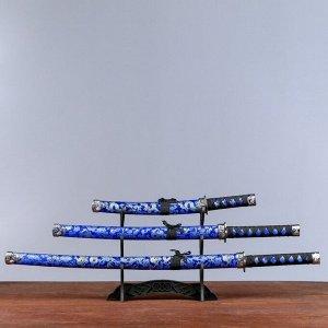 Сув. изделие катаны 3в1 на подставке, ножны ткань, драконы золото на синем 47/70/89см