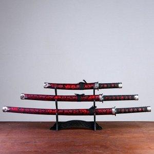 Сув. изделие катаны 3в1 на подставке, ножны ткань, драконы красные на черном 47/70/89см