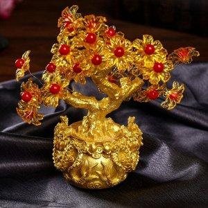 """Сувенир бонсай """"Цветочное денежное дерево в мешке со львами"""" 35 цветов 18х18х7,5 см"""