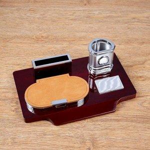 Набор настольный 4в1 (карандашница с часами, блок для бумаги, визитница) 30*20*10см