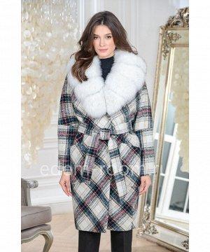 Модное пальто с мехом в клеткуАртикул: AR-120-110-KLB-P