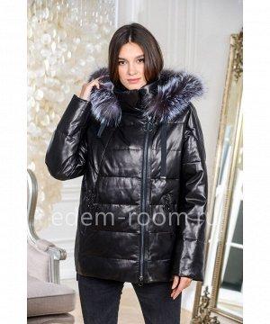 Кожаный пуховик - курткаАртикул: AL-19179-2-70-CH