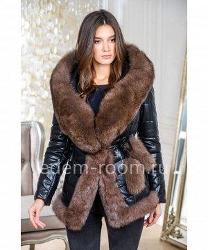 Красивая куртка из эко-кожи с мехом песцаАртикул: GL-8857-2-70-P