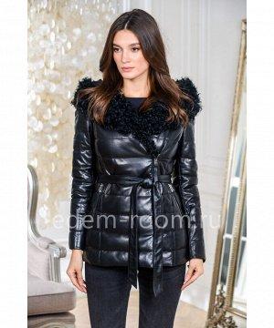 Кожаный пуховик - курткаАртикул: AL-705-2-65-BR