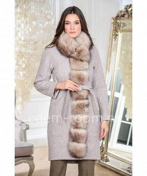 Зимнее пальто с меховой планкойАртикул: AR-1834-100-BG-P