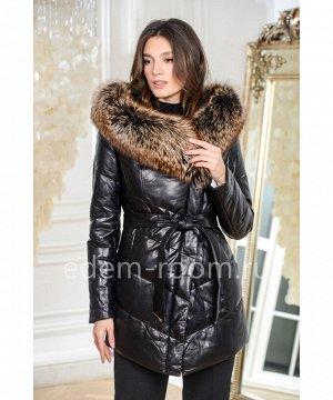 Женский пуховик - куртка из кожиАртикул: 17173-70-CH-TR