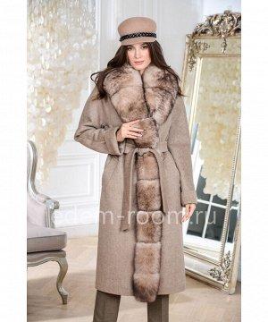 Пальто с меховой планкойАртикул: AR-18608-120-BG-P
