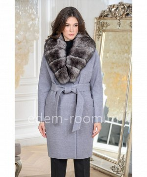 Серое пальто с мехом песцаАртикул: 142-95-SR-P
