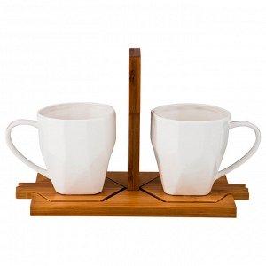 """Чайный набор на 2 персоны """"native"""" 4пр. 220 мл. на подставке 24*12 см. в=15 см. (кор=18шт.)"""