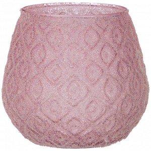 Подсвечник 'розовая дымка' диаметр=11 см,высота=10,5 см без упаковки (мал=4шт./кор=64шт.)