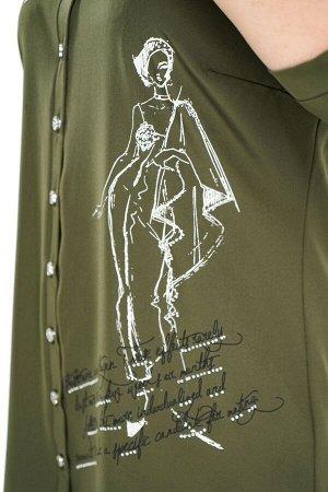 Рубашка Материал: Хлопок стрейч; Цвет: Зеленый; Фасон: Рубашка; Длина рукава: 3/4 рукав Рубашка удлиненная с девушкой с надписями хаки Удлиненная рубашка свободного кроя идеальный вариант для женщин,