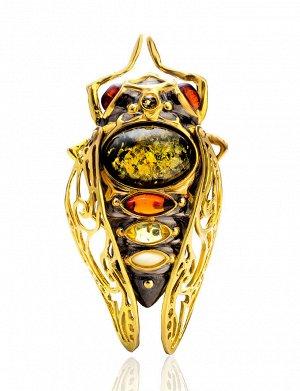 Роскошная брошь из позолоченного серебра и янтаря разных оттенков «Цикада», 807911123