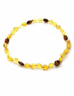 Детские бусы из лимонного и коньячного янтаря «Оливка» для детей, 6071202491