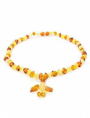 Очаровательные детские бусы из натурального янтаря «Ангелок» для детей, 807103012