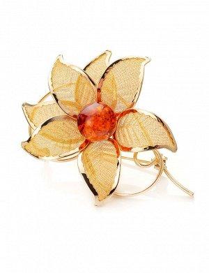 Брошь в форме цветка, украшенная натуральным янтарём Beoluna, 707912039