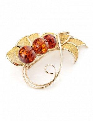 Эффектная брошь, украшенная натуральным коньячным янтарём Beoluna, 707909339