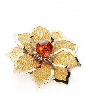 Брошь в виде цветка с натуральным балтийским янтарём и кристаллами Beoluna, 707912107