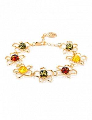 Очаровательный яркий браслет из золочённого серебра с янтарём «Ромашка», 707707018