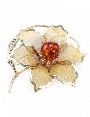 Красивая брошь, покрытая позолотой с натуральным балтийским янтарём и кристаллами Beoluna, 607912120