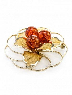 Позолоченная брошь круглой формы, украшенная натуральным коньячным янтарём Beoluna, 607912116