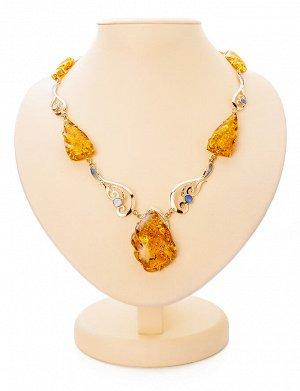 Роскошное вечернее колье из золота с натуральным янтарём и перламутром «Атлантида», 810703072