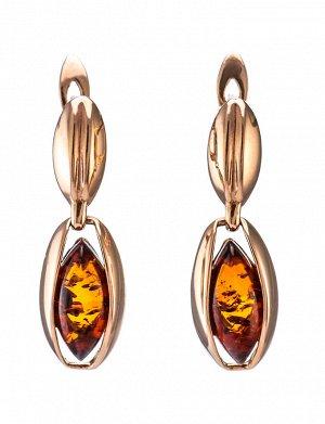 Элегантные золотые серьги со вставками из янтаря коньячного цвета «София», 606408316
