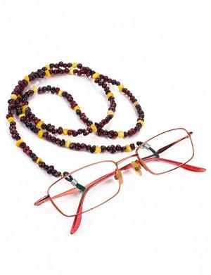 Бусы-держатель для очков из натурального балтийского янтаря контрастных оттенков, 913409041