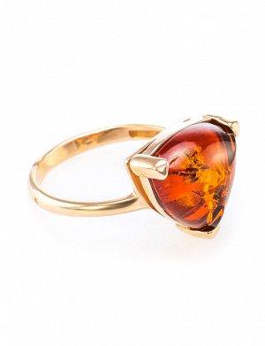 Кольцо из серебра в позолоте с натуральным балтийским коньячным янтарём «Треугольник», 610008210