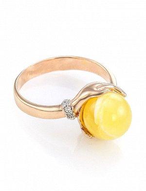 Роскошное кольцо «Объятия» из золота с натуральным янтарём и 6 бриллиантами, 606211203