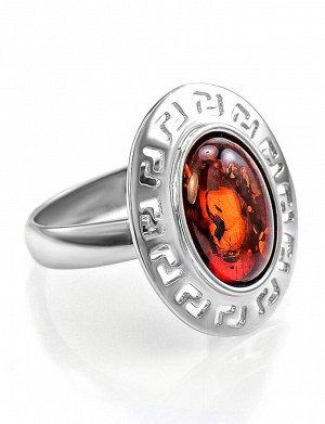 Элегантное кольцо из серебра и натурального балтийского янтаря вишневого цвета «Эллада», 606308140