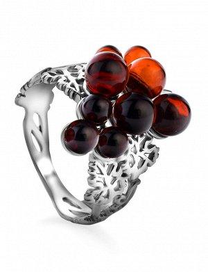 Эффектное кольцо из серебра и натурального янтаря вишнёвого цвета «Виноград», 806310358