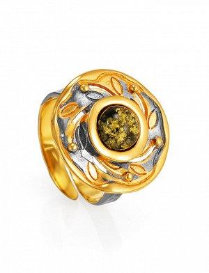 Эффектное круглое кольцо, украшенное янтарём зелёного цвета «Аида», 910001043