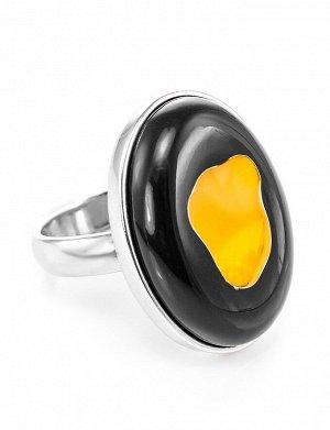 Яркое кольцо «Пантера» из серебра с натуральным балтийским янтарём, 706307302