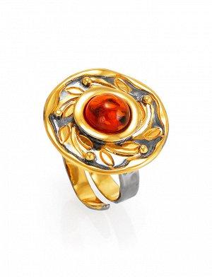 Кольцо в оригинальном дизайне с цельным коньячным янтарём «Аида», 910001045