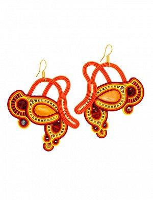 Крупные плетеные серьги с вставками из натурального медово-золотистого янтаря «Индия», 508304475