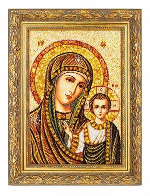 Икона «Казанская Богоматерь» из натурального балтийского янтаря и перламутра, 906909154
