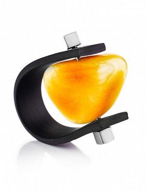 Необычное кольцо из каучука и натурального янтаря медового цвета «Сильверстоун», 908209236