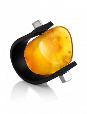 Кольцо из натурального цельного янтаря и каучука «Сильверстоун», 908209300