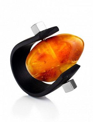 Необычное кольцо из каучука и натурального янтаря с красивой текстурой «Сильверстоун», 908209321