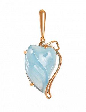 Кулон из золота с нежно-голубым халцедоном «Серенада», 811011188