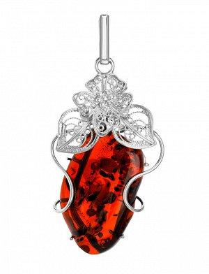 Крупная нарядная подвеска из натурального сверкающего янтаря вишнёвого цвета в серебра «Филигрань», 904507674