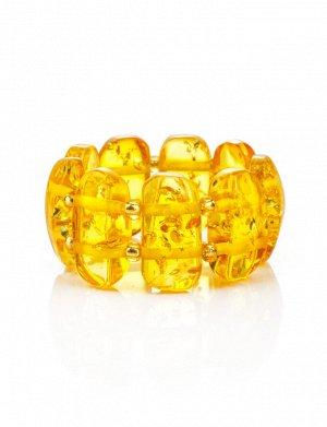 Кольцо из искрящегося лимонного янтаря на резинке, 908210062
