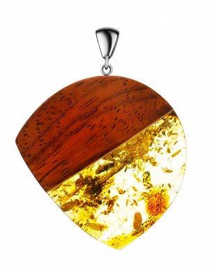 Красивая подвеска «Индонезия» из натурального балтийского янтаря и дерева, 904506094